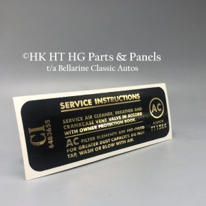 307 Service Instructions Air cleaner decal