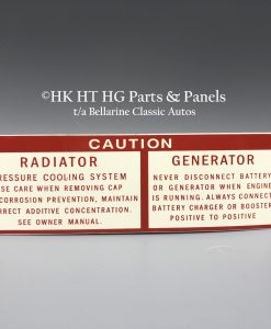Caution Radiator Generator Decal