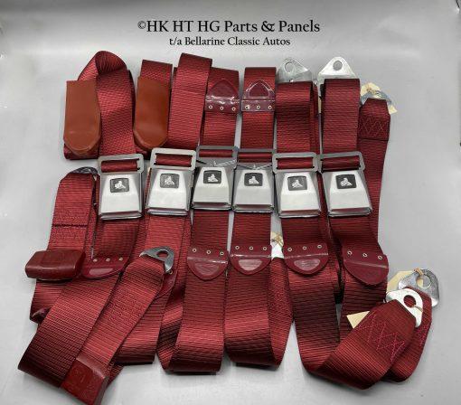 DARK RED SEAT BELTS SET OF 6